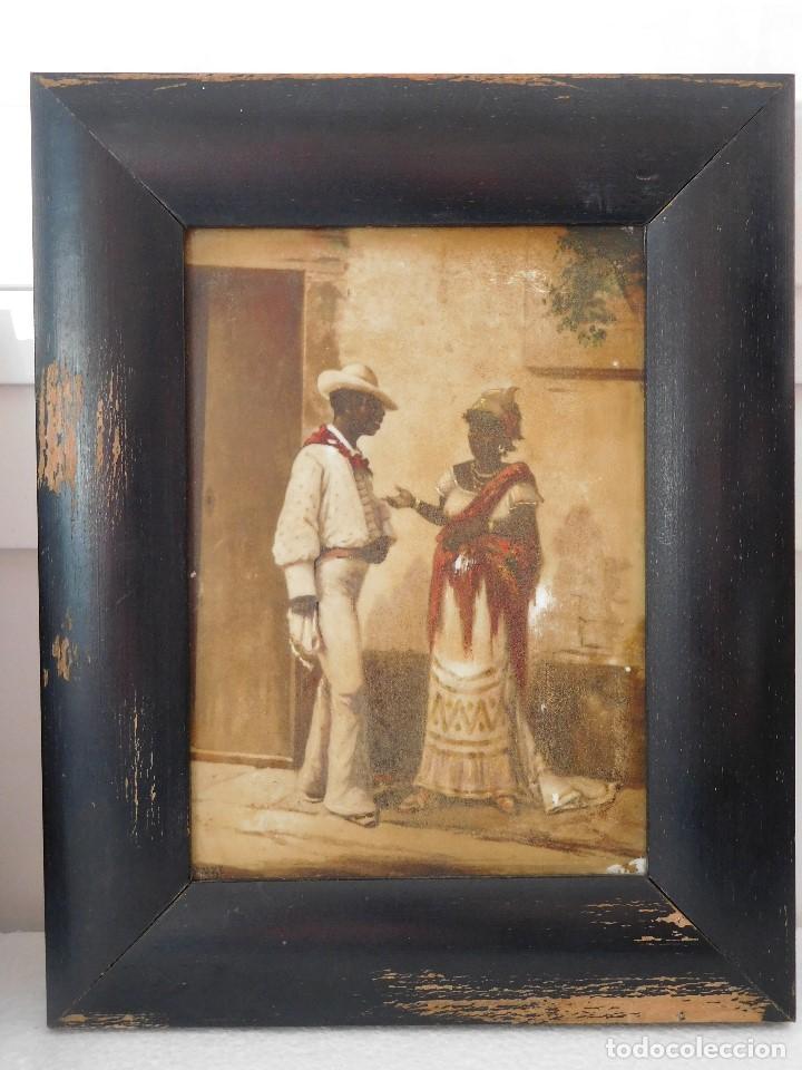 1 CUADRO DIBUJO OLEO SOBRE CRISTAL MUY ANTIGUO IMAGENES DE CUBA CON MARCO 20X25 DIBUJO 12X17CM (Arte - Pintura - Pintura al Óleo Antigua sin fecha definida)
