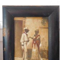 Arte: 1 CUADRO DIBUJO OLEO SOBRE CRISTAL MUY ANTIGUO IMAGENES DE CUBA CON MARCO 20X25 DIBUJO 12X17CM. Lote 194247387