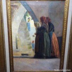 Arte: ÓLEO SOBRE TELA DE LAUREA BARRAU(BCN 1863-IBIZA 1957).IBICENCAS ESPIANDO A LOS ENAMORADOS.. Lote 194247825