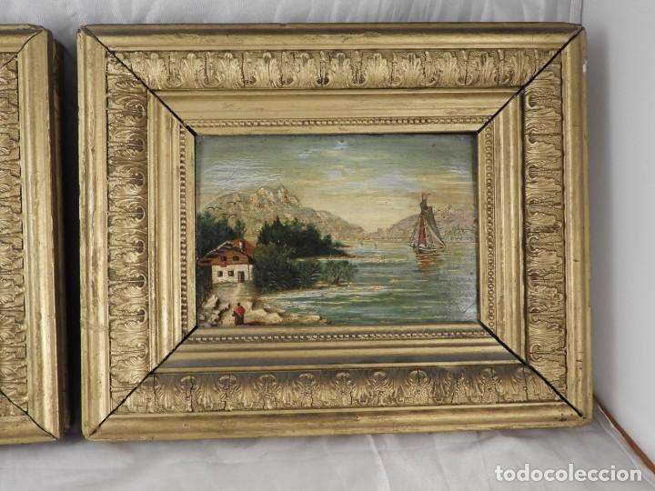 Arte: PAREJA DE CUADROS ANTIGUOS PINTADOS SOBRE TABLA. S. XIX - Foto 4 - 194248388