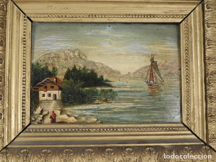 Arte: PAREJA DE CUADROS ANTIGUOS PINTADOS SOBRE TABLA. S. XIX - Foto 5 - 194248388