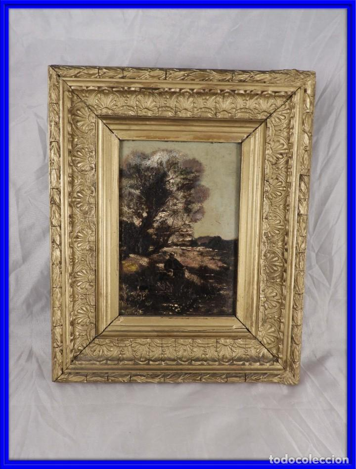 CUADRO ANTIGUO PINTADO SOBRE TABLA DE PAISAJE S. XIX (Arte - Pintura - Pintura al Óleo Moderna siglo XIX)