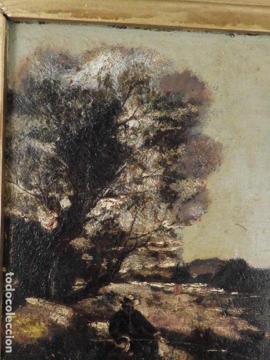 Arte: CUADRO ANTIGUO PINTADO SOBRE TABLA DE PAISAJE S. XIX - Foto 4 - 194248437