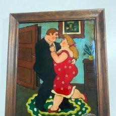 Arte: LUIS FERNANDO REVUELTA , PINTURA SOBRE CRISTAL ESCENA ROMANTICA . Lote 194263451