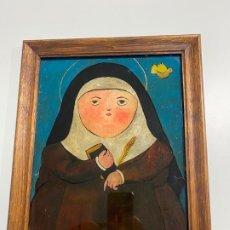 Arte: LUIS FERNANDO REVUELTA , PINTURA SOBRE CRISTAL , MONJA CON BIBLIA O MISAL , ESCENA RELIGIOSA . Lote 194263522