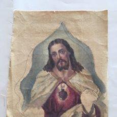 Arte: ESTAMPA RELIG. SAGRADO CORAZÓN DE JESÚS. BOCETO PINTURA SOBRE LIENZO.. Lote 194274402