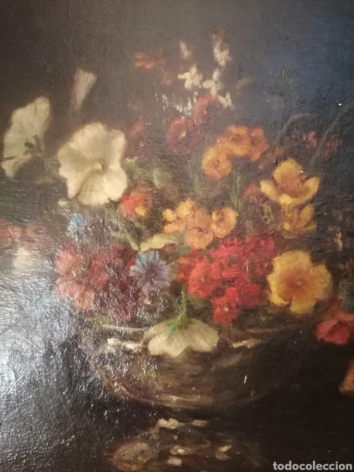 Arte: Bodegon flores ingles firma ilegible 1800 - Foto 4 - 194276382
