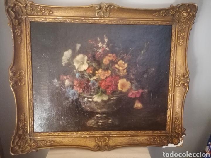 BODEGON FLORES INGLES FIRMA ILEGIBLE 1800 (Arte - Pintura - Pintura al Óleo Antigua sin fecha definida)