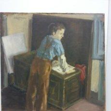 Arte: ORIGINAL. OBRA DE FRANCESC GASSÓ. NIÑO EN EL TALLER DEL ARTISTA. MEDIDAS 40*35. PINTURA SOBRE MADERA. Lote 194285381