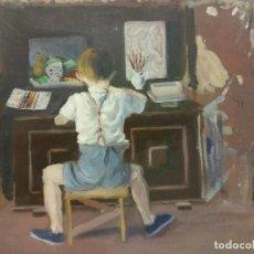 Arte: ORIGINAL. OBRA DE FRANCESC GASSÓ. NIÑO PIANISTA Y MUJER. MEDIDAS 40*35. PINTURA SOBRE MADERA. Lote 194285496