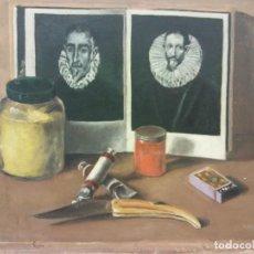 Arte: ORIGINAL. OBRA DE FRANCESC GASSÓ. EN EL TALLER DEL ARTISTA. MEDIDAS 40*35. PINTURA SOBRE MADERA. Lote 194285651
