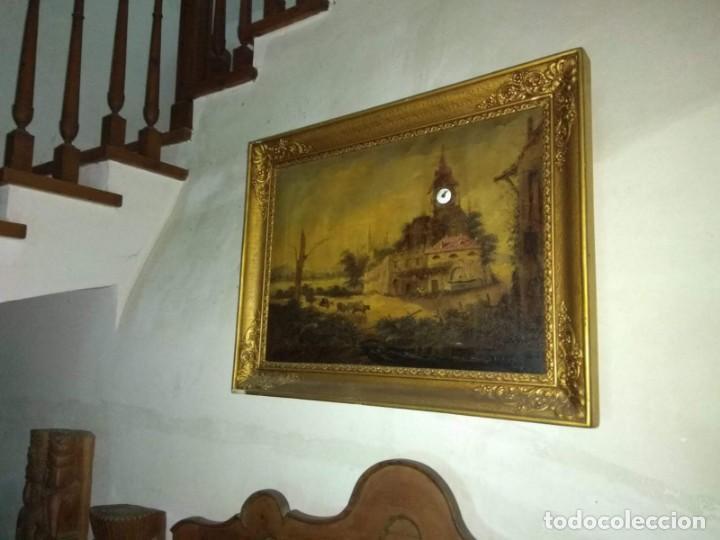 OLEO CON RELOJ, ANTIGUO (Arte - Pintura - Pintura al Óleo Antigua siglo XVIII)
