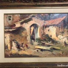 Arte: PINTURA AL ÓLEO SOBRE LIENZO FIRMADA POR JOSEP SARQUELLA CON FECHA EN 1975. Lote 194313993