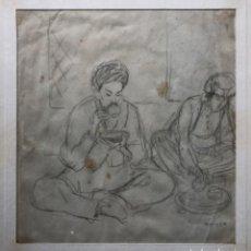 Arte: DIBUJO A LAPIZ, ESCENA ORIENTAL, FIRMADO OPISSO, 23X22 CM. Lote 194317920