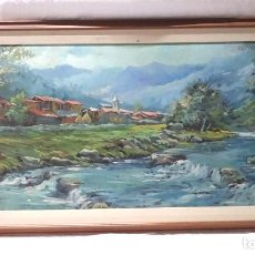 Arte: PAISAJE PIRINEO OLEO SOBRE TABLEX FIRMADO SERRAT, BUEN ESTADO. MED. 145 X 75 CM. Lote 194318148