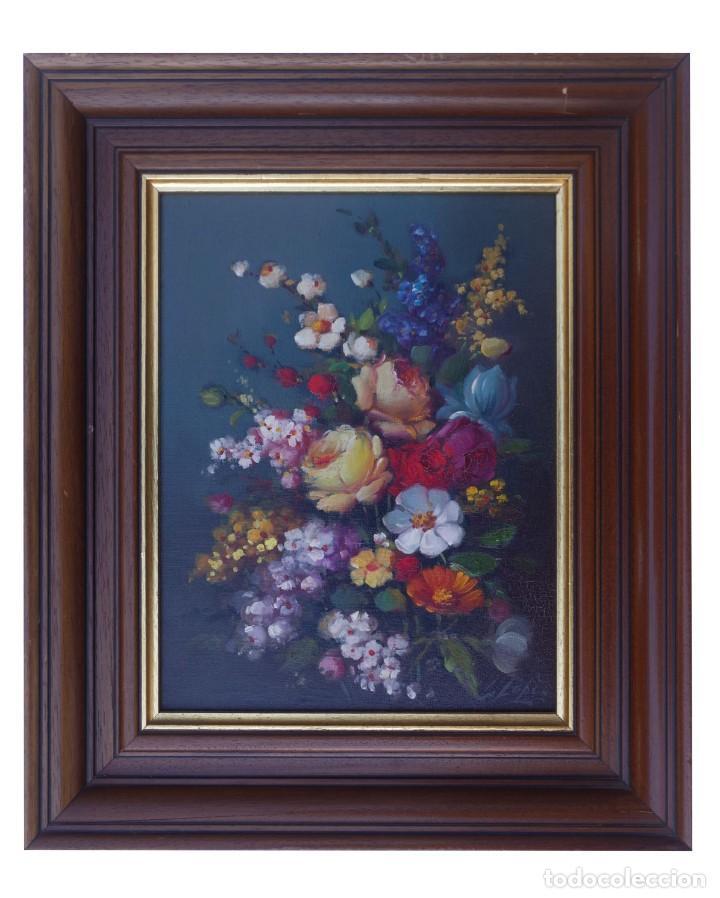Arte: Pintura al oleo de naturaleza muerta firmada por L. Lopez - Foto 2 - 194318603