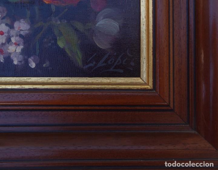 Arte: Pintura al oleo de naturaleza muerta firmada por L. Lopez - Foto 3 - 194318603