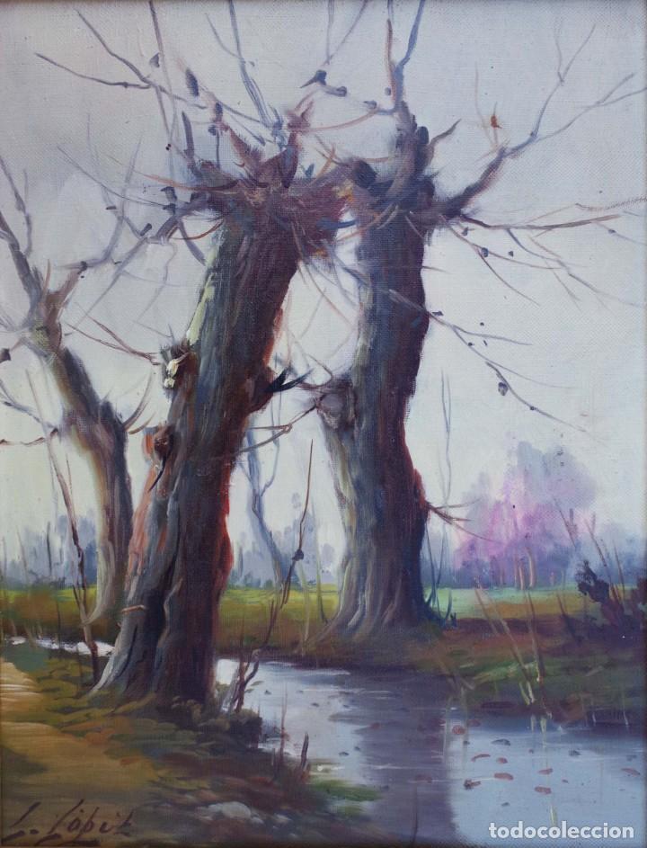 PINTURA AL OLEO DE PAISAJE FIRMADA POR L. LOPEZ (Arte - Pintura - Pintura al Óleo Moderna sin fecha definida)