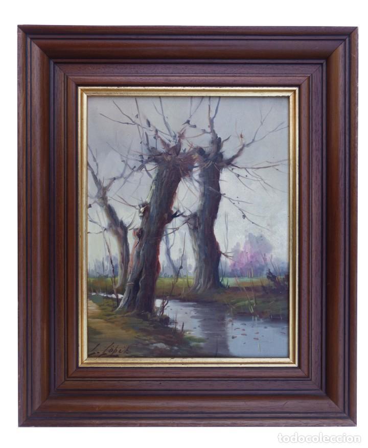 Arte: Pintura al oleo de paisaje firmada por L. Lopez - Foto 2 - 194318922