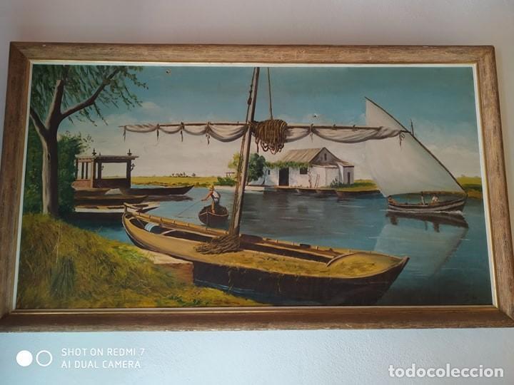 CUADRO PINTADO PUERTO DE LA ALBUFERA VALENCIA, ARTISTA PINTOR MILLAN AÑOS 60 (Arte - Pintura - Pintura al Óleo Contemporánea )