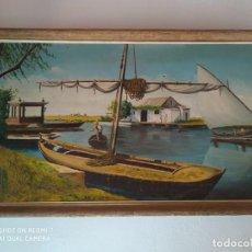 Arte: CUADRO PINTADO PUERTO DE LA ALBUFERA VALENCIA, ARTISTA PINTOR MILLAN AÑOS 60. Lote 194330700