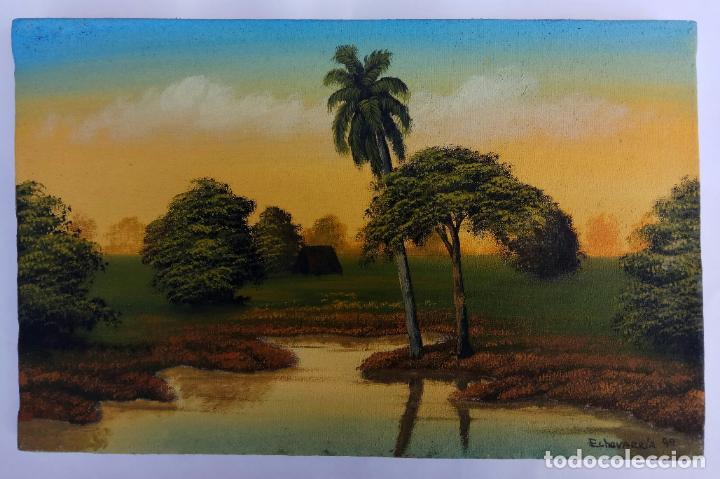 PEQUEÑO OLEO SOBRE TELA CON FIRMA ECHEVARRIA 99 18,5 X 29,5 CM (Arte - Pintura - Pintura al Óleo Contemporánea )