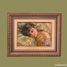 Arte: MAGNIFICO RETRATO DE NIÑA . Lote 194338555