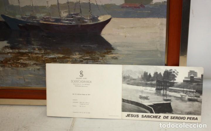 Arte: JESUS SANCHEZ DE SERDIO PERA. OLEO SOBRE TELA TITULADO ASTILLERO. CON CATALOGO DE LA EXPOSICION - Foto 10 - 194349040