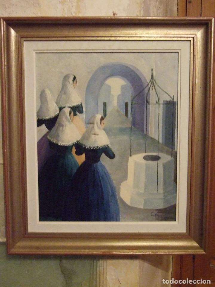 PINTURA MALLORQUINA - OLEO SOBRE TELA FIRMADO CATI - MUJERES CON TRAJE TRADICIONAL MALLORCA 34X46CM (Arte - Pintura - Pintura al Óleo Contemporánea )