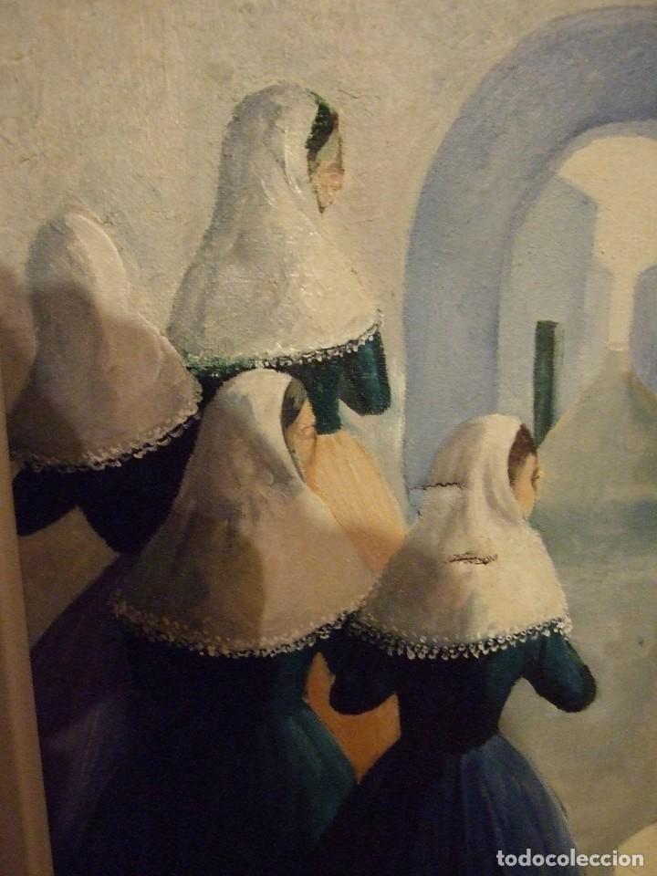 Arte: PINTURA MALLORQUINA - OLEO SOBRE TELA FIRMADO CATI - MUJERES CON TRAJE TRADICIONAL MALLORCA 34X46CM - Foto 3 - 194355485
