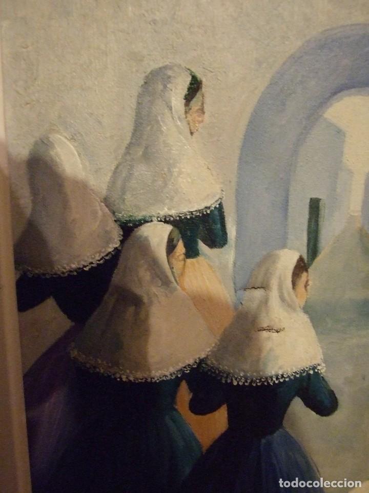 Arte: PINTURA MALLORQUINA - OLEO SOBRE TELA FIRMADO CATI - MUJERES CON TRAJE TRADICIONAL MALLORCA 34X46CM - Foto 4 - 194355485