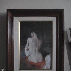 Arte: EXCELENTE OBRA AL PASTEL. DOMINGO ALVAREZ. ESTUDIO FEMENINO.. Lote 194365262