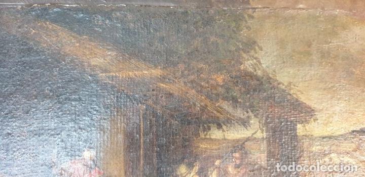 Arte: ADORACIÓN DE LOS PASTORES. O/L. MARCO DE EPOCA. ESCUELA HOLANDESA. SIGLO XVII. - Foto 3 - 194369856
