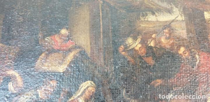 Arte: ADORACIÓN DE LOS PASTORES. O/L. MARCO DE EPOCA. ESCUELA HOLANDESA. SIGLO XVII. - Foto 4 - 194369856