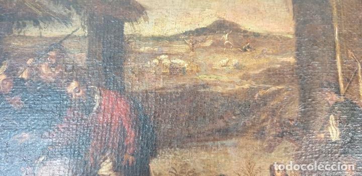 Arte: ADORACIÓN DE LOS PASTORES. O/L. MARCO DE EPOCA. ESCUELA HOLANDESA. SIGLO XVII. - Foto 5 - 194369856