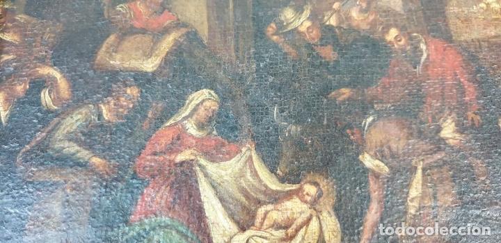 Arte: ADORACIÓN DE LOS PASTORES. O/L. MARCO DE EPOCA. ESCUELA HOLANDESA. SIGLO XVII. - Foto 6 - 194369856