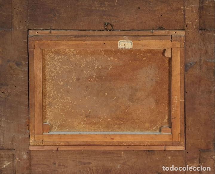 Arte: ADORACIÓN DE LOS PASTORES. O/L. MARCO DE EPOCA. ESCUELA HOLANDESA. SIGLO XVII. - Foto 7 - 194369856