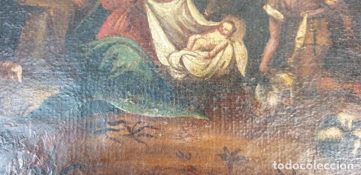 Arte: ADORACIÓN DE LOS PASTORES. O/L. MARCO DE EPOCA. ESCUELA HOLANDESA. SIGLO XVII. - Foto 8 - 194369856