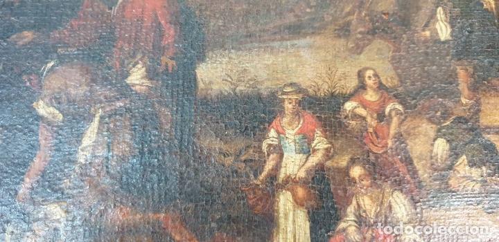 Arte: ADORACIÓN DE LOS PASTORES. O/L. MARCO DE EPOCA. ESCUELA HOLANDESA. SIGLO XVII. - Foto 9 - 194369856