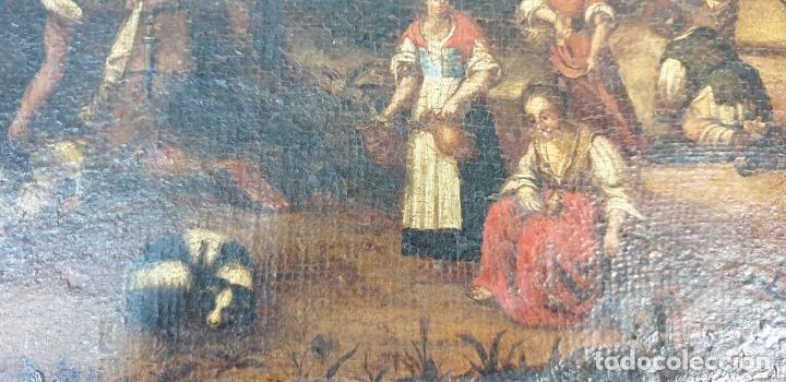 Arte: ADORACIÓN DE LOS PASTORES. O/L. MARCO DE EPOCA. ESCUELA HOLANDESA. SIGLO XVII. - Foto 10 - 194369856
