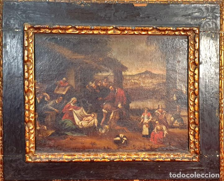 ADORACIÓN DE LOS PASTORES. O/L. MARCO DE EPOCA. ESCUELA HOLANDESA. SIGLO XVII. (Arte - Pintura - Pintura al Óleo Antigua siglo XVII)