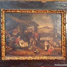 Arte: ADORACIÓN DE LOS PASTORES. O/L. MARCO DE EPOCA. ESCUELA HOLANDESA. SIGLO XVII.. Lote 194369856