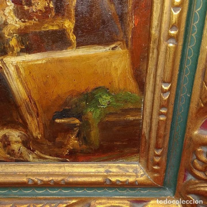 Arte: CABALLERO LEYENDO. ÓLEO SOBRE MADERA. CÍRCULO DE LUCAS VILLAAMIL. ESPAÑA. XIX-XX - Foto 17 - 191176081