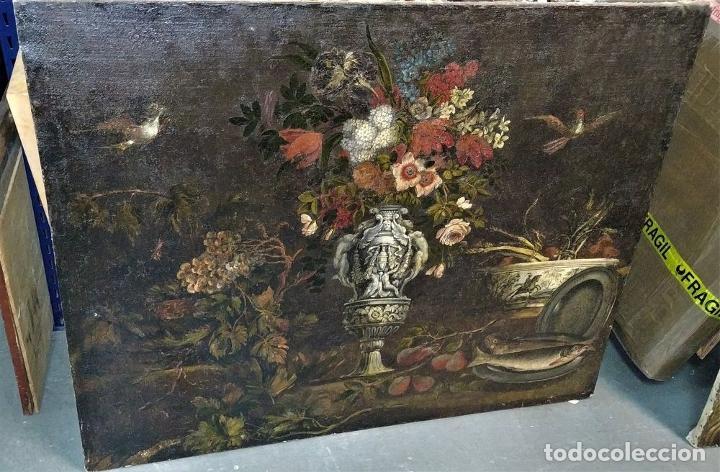 Arte: GRAN BODEGÓN CON FLORES Y PÁJAROS. ÓLEO SOBRE LIENZO. ESCUELA ROMANA. ITALIA. XVII - Foto 46 - 191465488