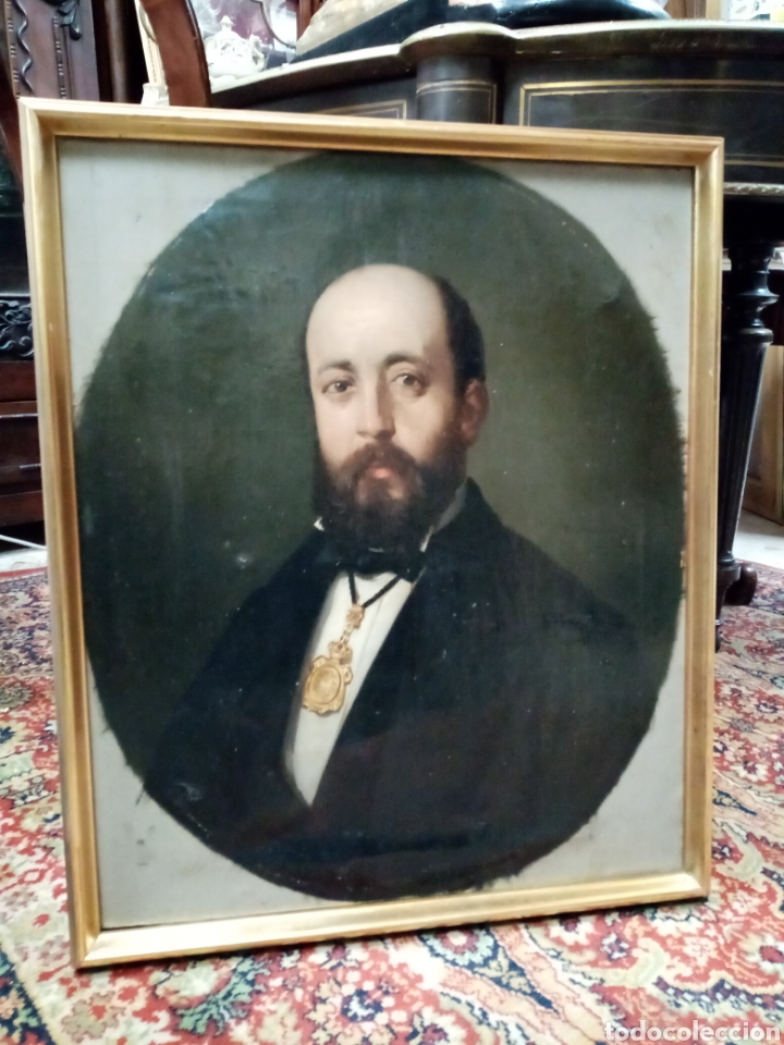 RETRATO BURGUÉS OLEO LIENZO DE GRAN CALIDAD S. XIX (Arte - Pintura - Pintura al Óleo Moderna siglo XIX)
