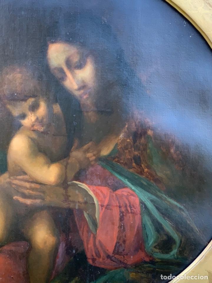 Arte: ÓLEO DE VIRGEN CON NIÑO CON ESPECTACULAR MARCO. SIGLO XIX - Foto 3 - 194511917