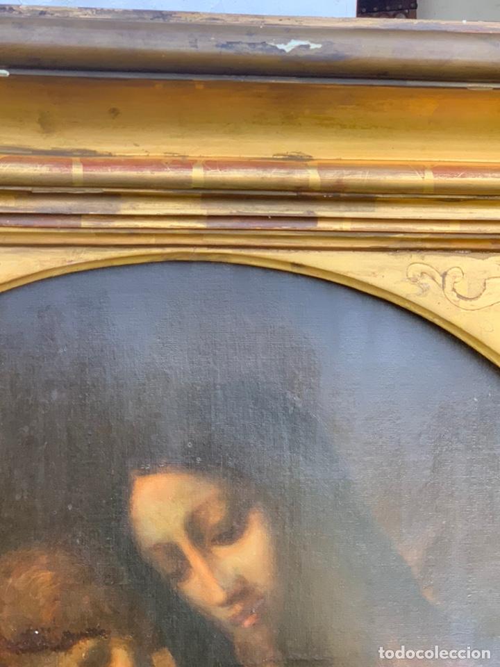 Arte: ÓLEO DE VIRGEN CON NIÑO CON ESPECTACULAR MARCO. SIGLO XIX - Foto 14 - 194511917