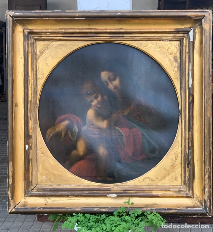ÓLEO DE VIRGEN CON NIÑO CON ESPECTACULAR MARCO. SIGLO XIX (Arte - Pintura - Pintura al Óleo Antigua sin fecha definida)