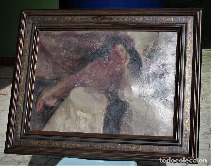 Arte: Oleo sobre lienzo -Mujer con bastidor- Por Joan Beltarn Bofill [1939-2009] - Foto 3 - 194512252