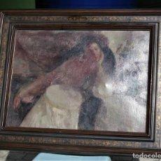 Arte: OLEO SOBRE LIENZO -MUJER CON BASTIDOR- POR JOAN BELTARN BOFILL [1939-2009]. Lote 194512252